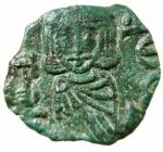 D/ Bizantini. Costantino V con Leone IV. 741-775 d.C.Follis. AE. Siracusa. ca. 757-775 d.C. D\ Busti coronati di Costantino V e Leone IV frontali, indossano clamide e reggono akakia; sopra +, a sinistra [K], a destra[Λ / E / O / N]. R\ Busto coronato di Leone III frontale, indossa clamide e regge croce; a sinistra, [Λ / E / O / N], a d., Δ / E / C. Spahr 335; Anastasi 437; Sear 1569; DOC 19. Peso 3,75 gr. Diametro 19,00 mm. SPL. Patina verde.