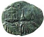 D/ Bizantini. Leone V. 813-820 d.C. Follis. AE. D/ Busto di Leone V e Costantino. R/ A K e croce. Sear 1635. Peso 3,95 gr. Diametro 20,71 mm. BB+.po