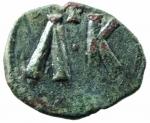 R/ Bizantini. Leone V. 813-820 d.C. Follis. AE. D/ Busto di Leone V e Costantino. R/ A K e croce. Sear 1635. Peso 3,95 gr. Diametro 20,71 mm. BB+.po