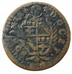 D/ Zecche Italiane. Bologna. Clemente XI. Mezzo Bolognino 1714. Munt.217. Peso 6,25 gr. MB+.po