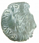 D/ Zecche Italiane. Castro. Pier Luigi Farnese. 1545-1547. Quattrino. San Savino. MI. Peso 0,50 gr. qBB. Patina verde.