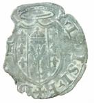 R/ Zecche Italiane. Castro. Pier Luigi Farnese. 1545-1547. Quattrino. San Savino. MI. Peso 0,50 gr. qBB. Patina verde.