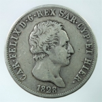 D/ Casa Savoia. Carlo Felice. 1821-1831. 5 lire 1828 G. AG. Pag. 74. Peso 24,50 gr. BB.