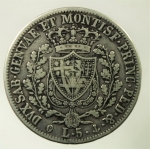R/ Casa Savoia. Carlo Felice. 1821-1831. 5 lire 1828 G. AG. Pag. 74. Peso 24,50 gr. BB.