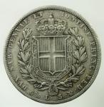 R/ Casa Savoia. Carlo Alberto. 5 Lire 1836. Ar. Genova. Gig.63. Peso 24,70 gr. BB.