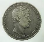D/ Casa Savoia. Carlo Alberto. 5 Lire 1844. Torino. Gigante 80. Buon BB.