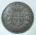 R/ Casa Savoia. Carlo Alberto. 5 Lire 1844. Torino. Gigante 80. Buon BB.
