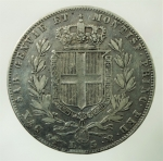R/ Casa Savoia. Carlo Alberto. 1831-1849. 5 Lire 1847. Genova. Peso 24,80 gr. BB+.
