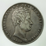 D/ Casa Savoia. Carlo Alberto. 5 Lire 1848. Ag. Zecca Genova. Gig. 87. Peso 25,00 gr. Diam. 37,00 mm. BB.