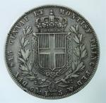 R/ Casa Savoia. Carlo Alberto. 5 Lire 1848. Ag. Zecca Genova. Gig. 87. Peso 25,00 gr. Diam. 37,00 mm. BB.