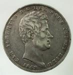 D/ Casa Savoia. Carlo Alberto. 1831-1849. 5 lire 1849 G. AG. Pag. 265. Mont. 141. qBB\BB.