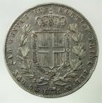 R/ Casa Savoia. Carlo Alberto. 1831-1849. 5 lire 1849 G. AG. Pag. 265. Mont. 141. qBB\BB.