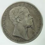 D/ Casa Savoia. Vittorio Emanuele II. Lire 5 1851 Genova. Pagani 372. Peso 25,00 gr. Diametro 37 mm. qBB\BB.