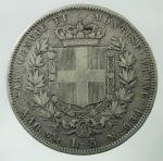 R/ Casa Savoia. Vittorio Emanuele II. Lire 5 1851 Genova. Pagani 372. Peso 25,00 gr. Diametro 37 mm. qBB\BB.
