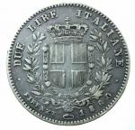 R/ Casa Savoia. Vittorio Emanuele II. Re Eletto. 1859-1861. 2 lire 1860 Firenze. AG. Pag. 436. qBB\BB+. R.