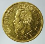 D/ Casa Savoia. Vittorio Emanuele II. 1861-1878. 10 lire 1863 Torino. AU. Pag. 477a. Diametro mm. 19.00. BB.
