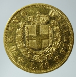R/ Casa Savoia. Vittorio Emanuele II. 1861-1878. 10 lire 1863 Torino. AU. Pag. 477a. Diametro mm. 19.00. BB.