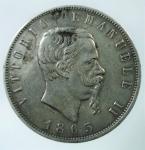 D/ Casa Savoia. Vittorio Emanuele II. 1861-1878. 5 lire 1865 Napoli. AG. Pag. 486. BB. Colpetti.R.