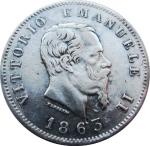 D/ Casa Savoia. Vittorio Emanuele II. 1 Lira 1863 T Stemma. Ag. BB/SPL . NC. rf