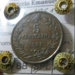 R/ Casa Savoia. Vittorio Emanuele II. 5 Centesimi 1861N Testa più grande e tozza. NC. Periziata Cristiano Ferdinando. SPL. rf