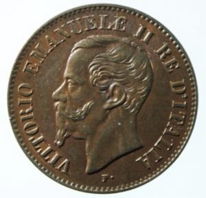 D/ Casa Savoia. Vittorio Emanuele II. 1861-1878. 2 centesimi 1867 M. CU. Pag. 560. Mont 258. FDC. Rame rosso.x