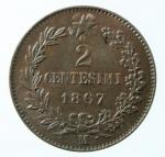 R/ Casa Savoia. Vittorio Emanuele II. 1861-1878. 2 centesimi 1867 M. CU. Pag. 560. Mont 258. FDC. Rame rosso.x
