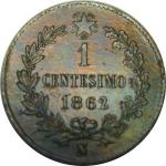 R/ Casa Savoia. Vittorio Emanuele II. 1 Centesimo 1862N. Cifra 1 su 2. qFDC. Rame parzialmente Rosso. NC. rf