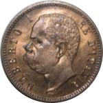 D/ Casa Savoia. Umberto I. 2 centesimi 1900. FDC. Rame rosso eccezionale. rf