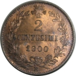 R/ Casa Savoia. Umberto I. 2 centesimi 1900. FDC. Rame rosso eccezionale. rf