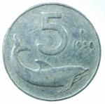 R/ Repubblica Italiana. 5 lire 1956. Pag.680. IT. BB.RR.