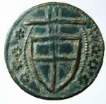 R/ Medaglie. Tessera. Italia Centrale.Scudo crociato in corona di rosette. Cu. Peso 3,50 gr. Diametro 23,50 mm.SPL.R.