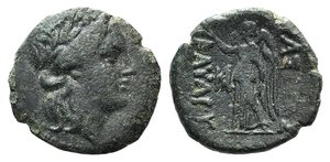 D/ Kings of Thrace, Kavaros (c. 230/25-218 BC). Æ (19mm, 5.10g, 12h). Kabyle. Laureate head of Apollo r. R/ Nike standing l., holding wreath; monogram before. SNG BM Black Sea 194; SNG Stancomb 304. Green patina, VF - Good VF