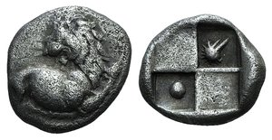 D/ Thrace, Chersonesos, c. 386-338 BC. AR Hemidrachm (13mm, 2.28g, 7h). Forepart of lion r., head reverted. R/ Quadripartite incuse square; two opposing quarters raised, the others containing pellet and crested helmet. SNG Berry 502. Porous, VF
