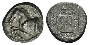 D/ Thrace, Maroneia, c. 495-450 BC. AR Didrachm (18mm, 6.53g, 3h). Forepart of horse l. R/ Legend around raised incuse square. Schönert-Geiss 38. Rare. Some crystallization, otherwise VF
