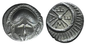 D/ Thrace, Mesambria, c. 480/78-424 BC. AR Diobol (10mm, 1.19g, 12h). Crested helmet facing. R/ Radiate wheel of four spokes. SNG BM Black Sea 268. Good VF