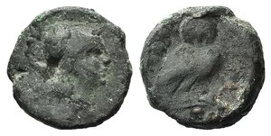 D/ Northern Apulia, Teate, c. 225-200 BC. Æ Uncia (15mm, 4.00g, 3h). Head of Athena r., wearing Corinthian helmet. R/ Owl standing r., head facing; pellet below. HNItaly 702d; SNG ANS 752. Green patina, Fine