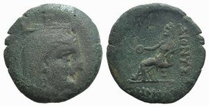 D/ Moesia Inferior, Dionysopolis, 3rd-1st centuries BC. Æ (24mm, 8.18g, 12h). Demophon, magistrate. Veiled and turreted bust of Demeter r. R/ Tyche seated l., holding phiale. SNG BM Black Sea 217; SNG Stancomb 123. Green patina, Good Fine – near VF