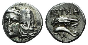 D/ Moesia, Istros, c. 256/5-240 BC. AR Drachm (18mm, 5.64g). Facing male heads, the r. inverted. R/ Sea-eagle l., grasping dolphin with talons; A below. AMNG I 416; SNG BM Black Sea 240. Scratch on obv., near VF