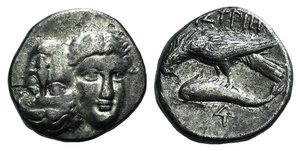 D/ Moesia, Istros, c. 313-280 BC. AR Drachm (16mm, 4.42g). Facing male heads, the r. inverted. R/ Sea-eagle l., grasping dolphin with talons; monogram below. AMNG I 421; SNG BM Black Sea 253. Near VF