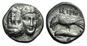 D/ Moesia, Istros, c. 313-280 BC. AR Drachm (16mm, 4.51g). Facing male heads, the l. inverted. R/ Sea-eagle l., grasping dolphin with talons; monogram below. AMNG I 421; SNG BM Black Sea 255. Near VF
