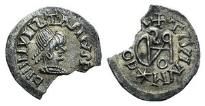 D/ Gepids, Uncertain king, 454-552. AR 1/4 Siliqua (15mm, 0.86g, 9h). Sirmium. Diademed, draped and cuirassed bust r. R/ Monogram of Theodoric; cross above. Demo 69ff. Chipped, otherwise Good VF