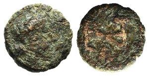 D/ Ostrogoths, Athalaric (526-534). Æ Nummus (9mm, 0.86g, 6h). Rome. Pearl-diademed, draped and cuirassed bust r. R/ Athalaricus monogram. COI 88 (2½ nummi); MIB 80; Morello 27; MEC 1, 136. Fine