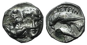 D/ Moesia, Istros, c. 313-280 BC. AR Drachm (16mm, 4.56g). Facing male heads, the l. inverted. R/ Sea-eagle l., grasping dolphin with talons; monogram below. AMNG I 421; SNG BM Black Sea 255. Metal flaws, Fine