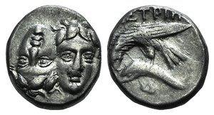 D/ Moesia, Istros, c. 340/30-313 BC. AR Drachm (16mm, 4.98g). Facing male heads, the l. inverted. R/ Sea-eagle l., grasping dolphin with talons; Δ below. AMNG I 431; SNG BM Black Sea 245. VF