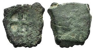 D/ Kaffa, Genoese colony, c. 15th century. Æ (17mm, 3.42g). Cross in countermark. R/ Blank. Fine