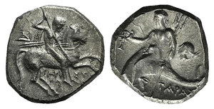 D/ Southern Apulia, Tarentum, c. 272-240 BC. AR Nomos (19mm, 6.37g, 12h). Aristokles and Di-, magistrates. Horseman r., holding shield and two spears, preparing to cast a third. R/ Dolphin rider l., holding kantharos and trident; to r., head of nymph l. Vlasto 877; HNItaly 1033. Good VF
