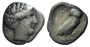 D/ Northern Lucania, Velia, c. 440-400 BC. AR Drachm (17mm, 3.34g, 10h). Head of nymph r. R/ Owl standing r. on branch; Δ before. Williams 185; SNG ANS 1265; HNItaly 1272. Fine