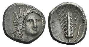 D/ Southern Lucania, Metapontion, c. 330-290 BC. AR Stater (19mm, 7.75g, 9h). Head of Demeter facing slightly r. R/ Barley ear with leaf to r.; bucranium above, A[Θ A] below. Johnston C 2; HNItaly 1584. Slightly off-centre, Good VF