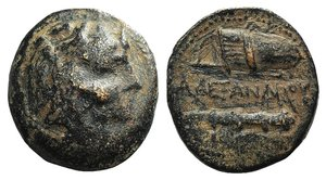 D/ Kings of Macedon, Alexander III 'the Great' (336-323 BC). Æ Unit (21mm, 6.52g, 12h). Macedonian mint, 336-323 BC. Head of Herakles r., wearing lion skin. R/ Bow in bow-case and club. Price 326. Brown patina, Fine / Good Fine