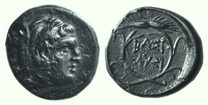 D/ Kings of Thrace, Lysimachos (305-281 BC). Æ Unit (15mm, 2.52g, 11h). Lysimacheia (?). Head of Herakles r., wearing lion skin. R/ BAΣI/ΛYΣI in two lines within grain ear wreath. Müller pl. XLII, 14; SNG Copenhagen 1168–9. Dark patina, VF – Good VF